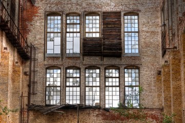 Wall Mural - Old windows i a abandoned hall