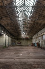 Wall Mural - Long windows in abandoned hall