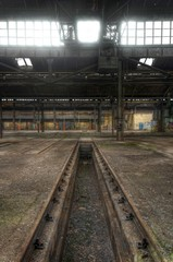 Wall Mural - Old rails in an abandoned hall, lost place