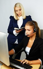 Beautiful help desk office support woman