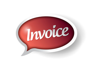 invoice message on a red speech bubble.
