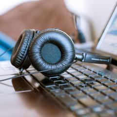 headphones on notebook