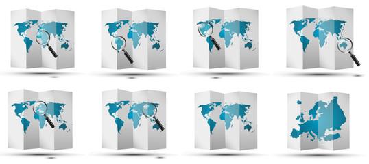Obraz maps world glass - fototapety do salonu