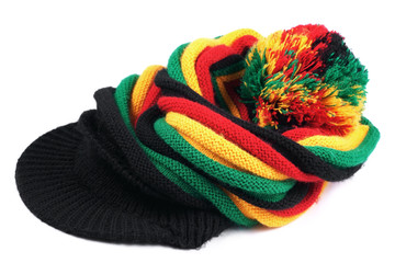 Rastafarian hat isolated on white background