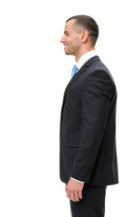 Half-length profile of business man, isolated