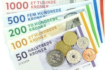 Danish kroner. ( DKK ) Banknotes and coins.