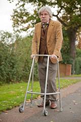 old man walking with zimmer frame - Zimmer Frame