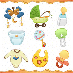 Baby stuff cartoon icon Collection