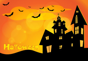 Vector Halloween background with flying bats, old house, pumpkin