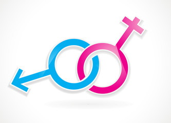Male and female sex symbol vector