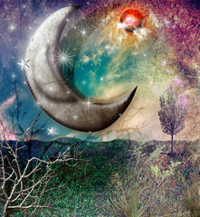 Photo sur Plexiglas Imagination Fairytales landscape with moon and stars