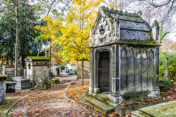 Wall Murals Cemetery A view of the Pere Lachaise, the most famous cemetery in Paris, France, with the tombs of very famous people