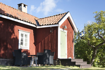 A traditional red Swedish house