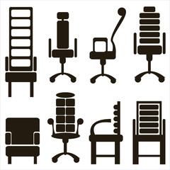furniture icons isolated on white background