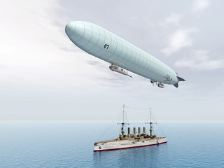Deutsches Luftschiff und deutscher Großer Kreuzer (1.WK)