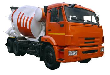 modern orange mixer truck