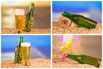 photo of chilled beer and a bottle