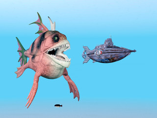 Seemonster mit Unterseebot