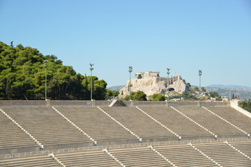 Acropolis rock as seen from the Marble Kallimarmaro Stadium