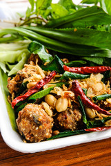 Thai dish : Fried spicy minced pork with herb