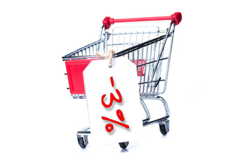 Shopping cart with 3 percent discount isolated on white