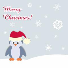 Weihnachtlicher Hintergrund mit lustigem Pinguin