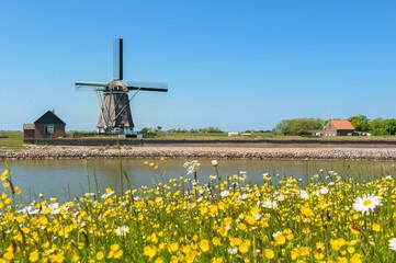 Windmill at Dutch island Texel Wall mural
