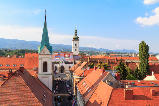 St Mark's church in Zagreb from above