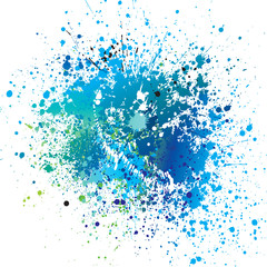 Background with blue spots and sprays. Vector illustration.