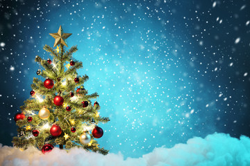 Wall Mural - Christmas tree with decoration