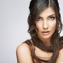 Woman beauty portrait, sensual open lips. Long hair style.