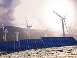 Solar power and wind generators. Renewable clean energy concept.