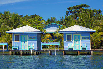 Blue bungalows overwater