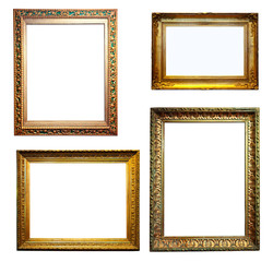 Set of gold frames. Isolated over white