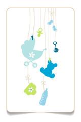 Gift Card Hanging Baby Symbols Boy