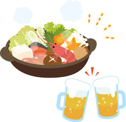 忘年会の鍋料理とビール