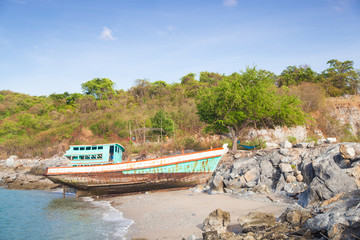 Old fishing boat on the beach.