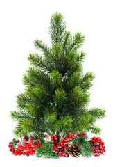 evergreen christmas tree with red decoraton