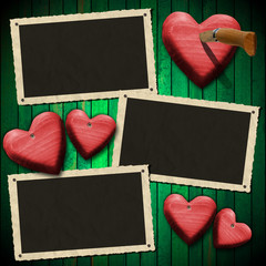 Romantic Photo Frames on Wood Green Wall