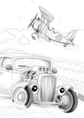 Machines - artistic coloring page - cartoon style