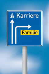 Richtungsschild Karriere oder Familie