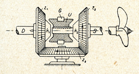 Astern propulsion device of ship with 3 gears