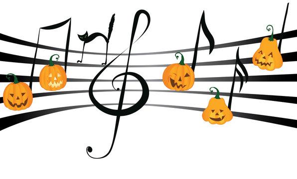 Pumpkin music on notes staff