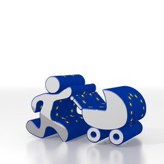 baby buggy symbol  with eu flag pattern
