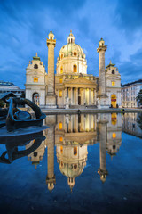 Baroque church Karlskirche in Vienna Austria