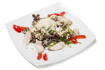 Black Caesar salad with chicken.