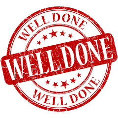 well done grunge round red vintage isolated rubber stamp