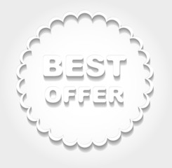 "Circle design with the words "" BEST OFFER"" in cut of paper style"