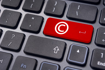 copyright concepts with symbol on keyboard