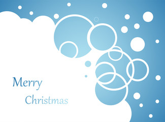 Wall Mural - christmas background, snow flakes and bubbles on blue
